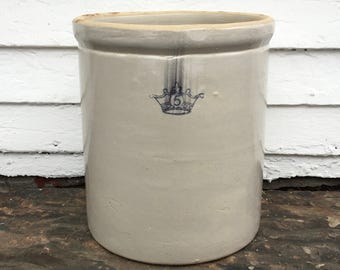 antique crown crock ~ 1900-1920s ~ 5 gallon blue crown crock ~ Ransbottom Brothers crock ~ blue crown pottery ~ farmhouse antique
