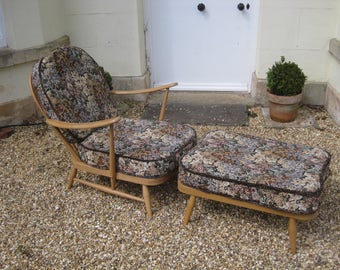 SOLD - Vintage Mid Century Blue Label Ercol Armchair and Matching Footstool