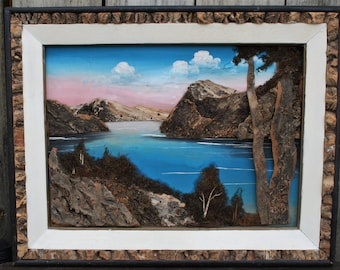 Vintage 3D Japanese Art, Japanese Mixed Media Landscape Scene, Nature Art