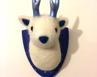 Galaxy Deer head Trophy small needle felted handmade made to order