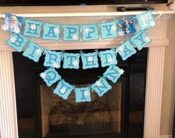 Frozen Banner,Frozen Birthday Banner,Frozen Princess,Frozen Party,Frozen Decorations,Princess Elsa,Birthday banner, Princess Birthday Banner