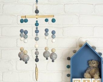 Blue Nursery Mobile | Blue White Grey Felt Ball Mobile |  Baby Boy Mobile | Blue Boy Decor | Baby Shower Gift | Laser cut Wood Mobile