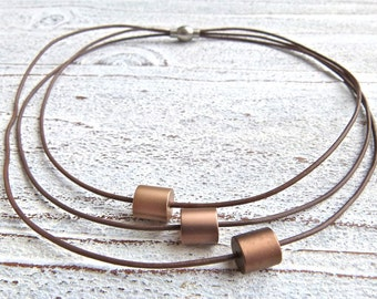 Leather Necklace brown #113,aluminum beads,Ladies Necklace,Handmade Jewelry,Multi-strand,Boho Chic,Women,statement jewelry,Gift for her,
