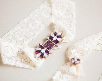 Bridal Garter Set, Wedding Garters, Garter Set, Prom Garter, Crystal Lace Garter - Style GS12