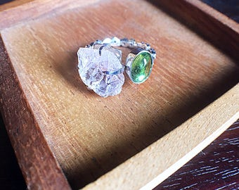 Raw uncut morganite and peridot sterling silver ring | Size 5.5