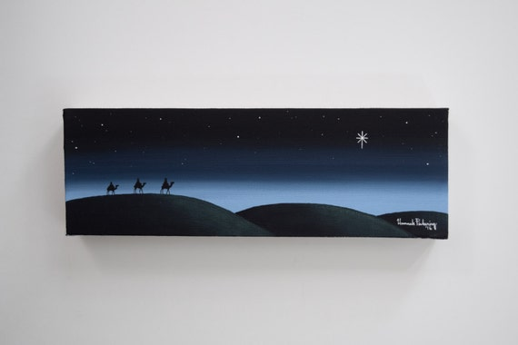 Wisemen Painting No. 2, Christmas Canvas Art, Bethlehem Painting // Original Artwork, Wall Art, Hand-Painted
