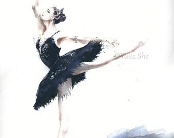 "Original watercolor ballerina dancing home decor 11x14"""