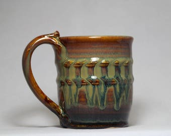 unique coffee mug, 10oz hand thrown stoneware pottery mug