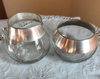 Vintage Dorothy Thorpe Silver Band Sugar and Creamer Set- 1960's