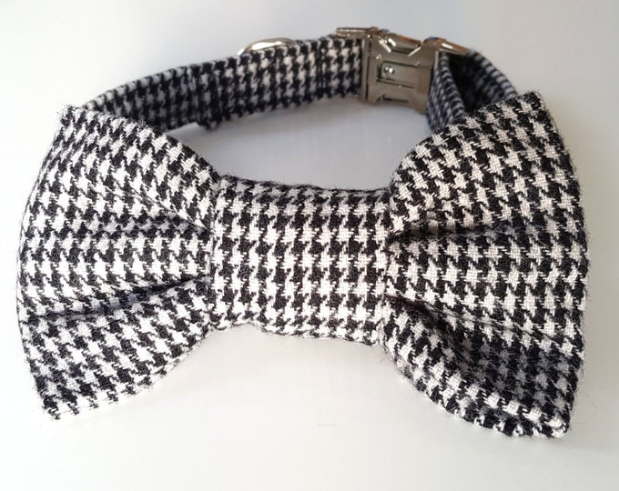 Dogtooth Check Dog Collar and Bowtie Set
