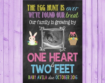 Ultrasound Easter Pregnancy Chalkboard Announcement / Egg Hunt / Easter Announcement / Chalkboard card / sonogram