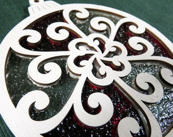 Peppermint wood and stained glass suncatcher/ornament