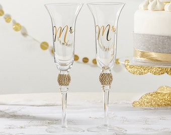 Gold Glitter and Rhinestone Mr. and Mrs. Toasting Champagne Flute Set - Wedding Champagne Flute - Mr and Mrs Wedding Glassware (27120)