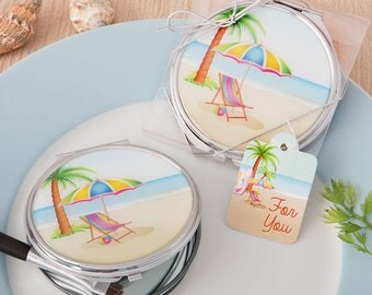 Beach Compact Mirror, Bridal Shower Compact Mirror Favors, Bridesmaid Gift, Girls Night Out Favor, Destination Wedding Favor (Set of 6)