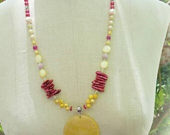 Tropical Colors Long Summer Necklace Biwa Pearls Capiz Shell Pendant Citrine Cultured Pearls Faux Pearls     by Sandra Eileen Designs