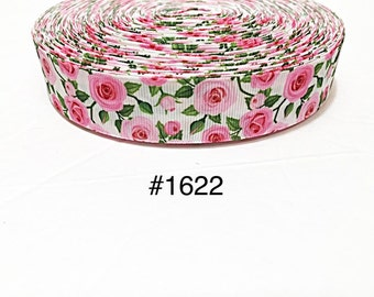 "3 or 5 yard 1"" Pink Rose Flower on White Grosgrain Ribbon"