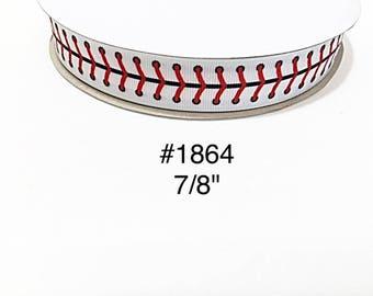 "3 or 5 yard - 7/8"" Sport Baseball Lace on White Grosgrain Ribbon Hair bow"