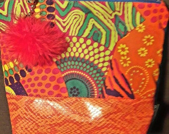 Colorful Kit fabric and Faux Croc orange