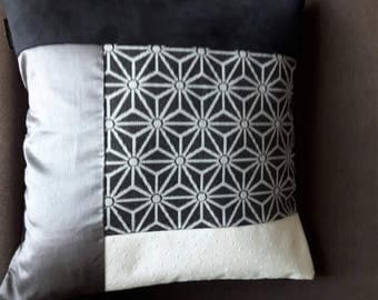 Square cushion sold GARNI gray PATCHWORK black and white