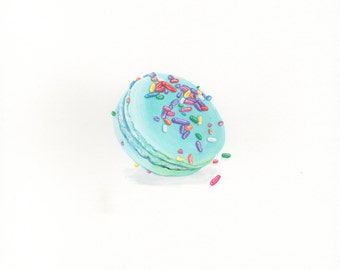 Day 13 #NOMvember Gouache Painting: Turquoise Mint Macaron With Rainbow Sprinkles Food Illustration