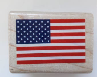 American Flag Wood Mounted Rubber Stamp Scrapbooking & Paper Craft Supplies