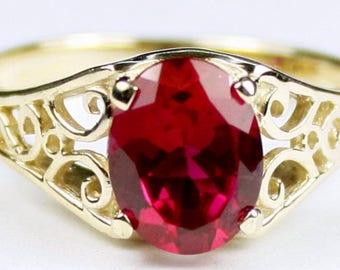 Created Ruby, 14KY Gold Ring, R005