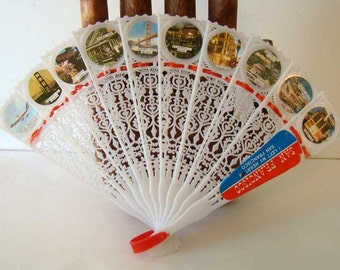 San Francisco souvenir hand fan, plastic hand fan, California souvenir fan, Japanese fan, San Francisco, lace hand fan