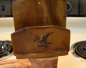 Vintage Colonial style wooden letter holder, vintage mail holder, Eagle home decor, wooden letter mail holder