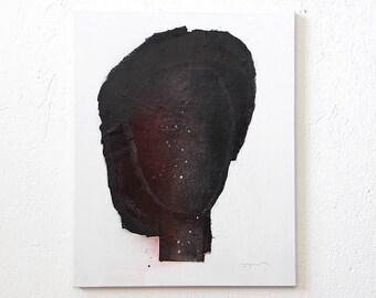 Black Light - Original Black Painting, Abstract Woman Portrait in Black