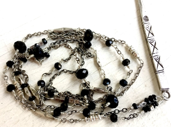 Black Onyx Long Necklace, Hill Tribe Thai Silver Spike, Oxidized Sterling, Tribal Jewelry, Boho,  Fine Silver, Layering