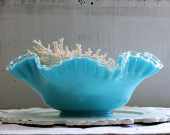 Fenton Turquoise Silver Crest Blue Milk Glass Bowl, Ruffled Clear Rim Footed Bowl Pastel Aqua Bridal Bowl, Centerpiece Bowl