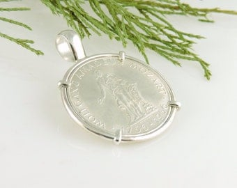 Austrian Coin Jewelry with 1956 Mozart Silver 25 Schilling in Handmade Pendant Setting