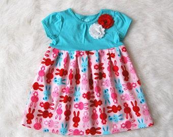 Easter dress with bunnies**Girls bunny dress**Rabbit dress**Dress on sale**Spring summer dress**Toddler girls dress*Novelty dress*Flower pin