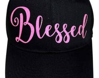 """NEW! Neon Pink Glitter """"Blessed"""" Black Baseball Cap"""