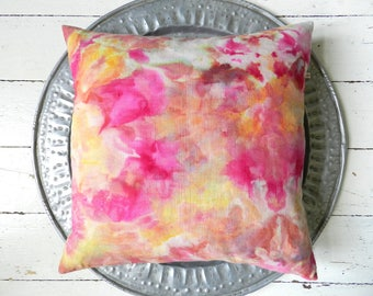 Watercolor Pink Ochre Yellow Pillow german vintage Linen Rosebud Red Flower Petal Cushion 50x50 cm 20x20 inches