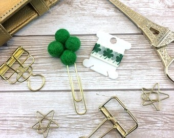 SALE - Four Leaf Clover Felted Pom Planner Clip and Washi Tape Sample // St. Patrick's Day // #041 B