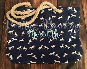 Horse Tote -- Beach Tote Bag - Monogrammed Tote Bag - Personalized Tote Bag - Personalized Custom Bag - Monogrammed Bag - Beach Bag - Travel