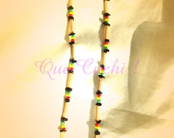Rasta necklace with bamboo, seed beads and Onyx Chips
