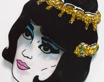 Carry on Cleo Oversized glittery illustrated brooch