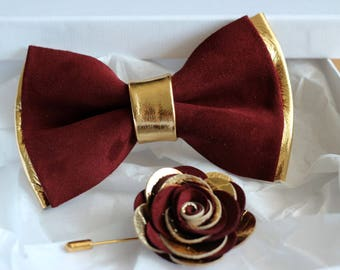 Mens bow tie,  burgundy leahter wedding bow tie,gold burgundy groomsmens bow tie, toddler burgundy bow tie, boys bow tie, wedding, maroon
