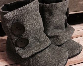 Soft baby boots/leather sole/toddler shoe