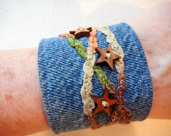 Ribbon and Star Denim Bracelet, 5/8 inch mother of pearl button closure, wood stars and hand dyed ribbon denim cuff, recycled denim jewelry