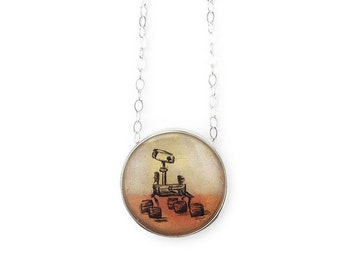 Mars Rover Mini Round Necklace set in Sterling Silver