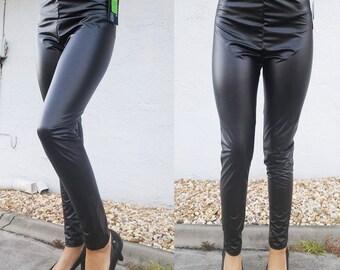 Black Matte Vinyl Stretch Leggings Size Medium Goth Industrial Pants