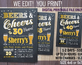 Beer Birthday Party invitation / - 40th - 50th - 60th Cheers and Beers party / DIY / Chalkboard Theme Invitation