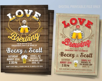 Coed Bridal Shower Invitation, Beer Bridal Shower, Couples Bridal Shower Invitation, Love is Brewing Invitation