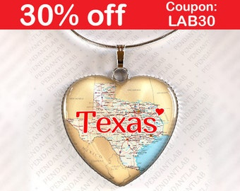 Texas Pendant, Texas Necklace, State Heart Necklace, God Bless Texas, Texas Born and Raised, State of Texas Jewelry, I Love Texas, Texas Map