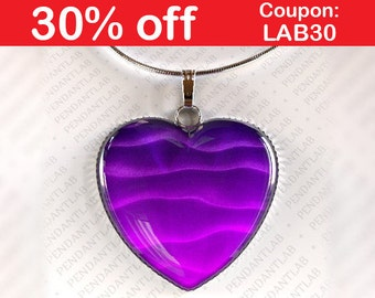 Purple Waves Heart Pendant, Purple Heart, Heart Pendant, Heart Necklace, Fantasy Jewelry, Purple Pendant Necklace, Dark Purple Necklace
