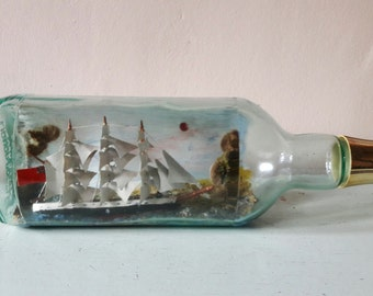 Large Vintage Ship in a Bottle with a Unique History