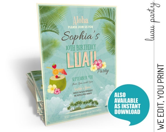 Luau Birthday Invitation